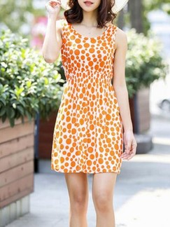 Orange and White Shift Above Knee Dress for Casual Beach
