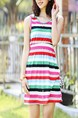 Colorful Above Knee Sheath Dress for Casual Beach