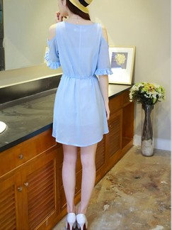 Blue Above Knee Fit & Flare Dress for Casual Office