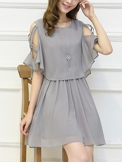 Grey Fit & Flare Above Knee Dress for Casual Party Evening