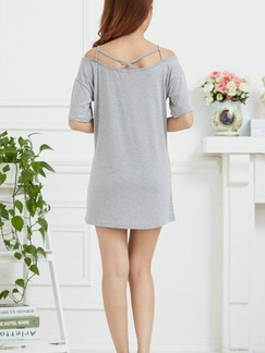 Grey Off Shoulder Above Knee Shift Dress for Casual