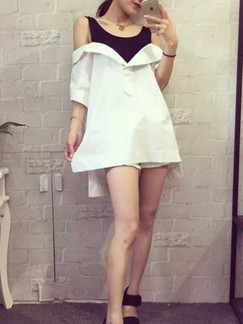 Black and White Shift Above Knee Dress for Casual