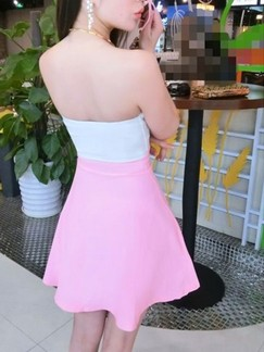 White and Pink Cute Strapless Fit & Flare Above Knee Dress for Party Evening Cocktail