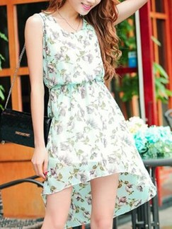 Green Fit & Flare Knee Length Dress for Casual Beach
