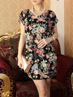 Black and Pink Colorful Shift Above Knee Floral Dress for Casual Party