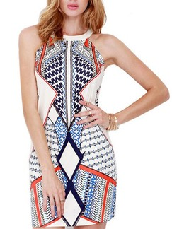 White Colorful Halter Bodycon Above Knee Dress for Casual