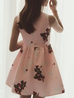 Pink Cute Fit & Flare Above Knee Dress for Casual Party Evening