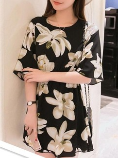 Black and Beige Above Knee Fit & Flare Floral Dress for Casual