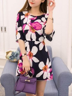 Blue and Pink Above Knee Fit  Flare Floral Dress for Casual Special Offer