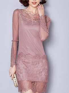Pink Cute Long Sleeve Sheath Above Knee Lace Plus Size Dress for Evening Party Cocktail