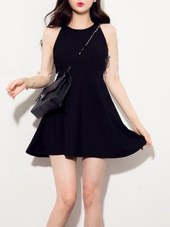 Black Fit & Flare Halter Above Knee Dress for Casual Evening Party