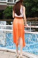 White and Orange Fit & Flare Knee Length Dress for Casual Party Evening
