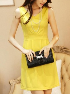 Yellow Shift Above Knee V Neck Dress for Casual Party Evening