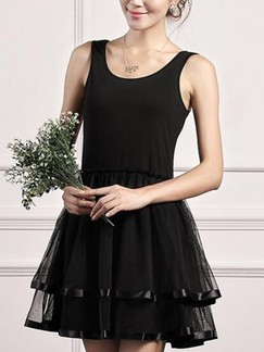 Black Fit  Flare Above Knee Dress for Casual Evening Party Special Offer