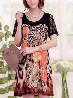 Black and Leopard Shift Above Knee Floral Dress for Casual