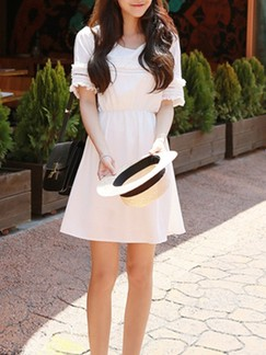 White Fit & Flare Above Knee Dress for Casual
