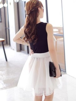 Black and White Fit & Flare Above Knee Dress for Casual Evening Party