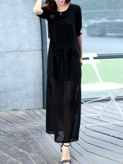 Black Maxi Plus Size Dress for Casual Evening