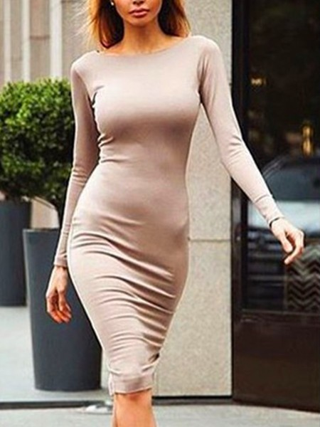 Beige Bodycon Knee Length Long Sleeve Plus Size Dress for Party Evening Cocktail