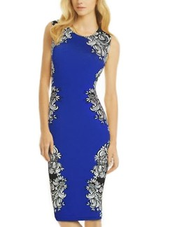Blue Bodycon Knee Length Floral Plus Size Dress for Party Cocktail Evening