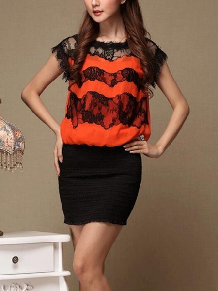 Black and Orange Two Piece Bodycon Lace Above Knee Dress for Casual Evening Party Special Offer