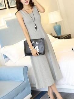 Grey Midi Plus Size Dress for Casual
