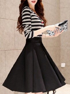 Black and Grey Fit & Flare Knee Length Two Piece Plus Size Long Sleeve Dress for Casual Party Evening