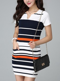 White Orange and Blue Above Knee Bodycon Plus Size Dress for Casual Office