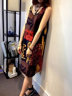 Brown Colorful Shift Knee Length Plus Size Dress for Casual