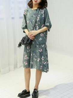 Green Shift Knee Length Dress for Casual