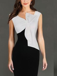 Black White Polkadot Knee Length Bodycon Plus Size Dress for ...