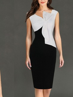 Black and White Knee Length Bodycon Plus Size Dress for Evening Cocktail
