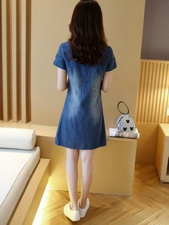 Blue Denim Shift Above Knee Plus Size Dress for Casual
