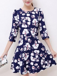 Blue Floral Fit & Flare Above Knee Plus Size Dress for Casual Party