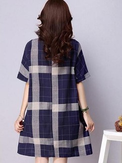 Blue Shift Above Knee Dress for Casual