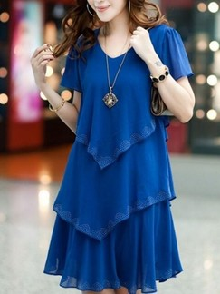 Blue Shift Above Knee Plus Size Dress for Casual Party