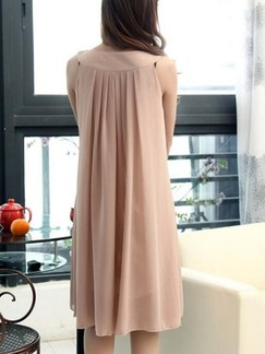 Beige Shift Knee Length Plus Size Dress for Casual Party Evening