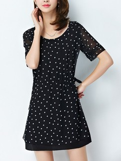 Black Above Knee Plus Size Shift Dress for Casual Evening Office