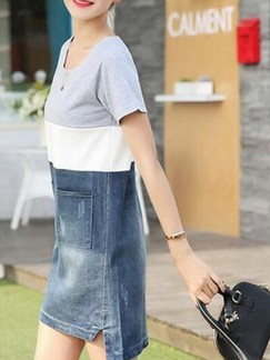 Blue White and Grey Shift Above Knee Denim Dress for Casual