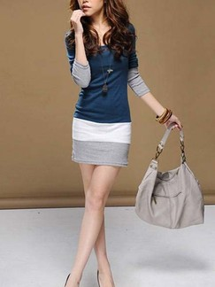 Blue Bodycon Above Knee Plus Size Long Sleeve Dress for Casual Office