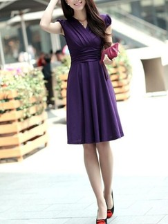 Purple Fit & Flare Wrap V Neck Knee Length Plus Size Dress for Casual Evening Party