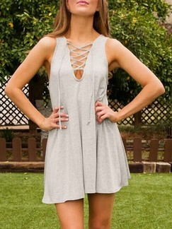 Grey Shift Above Knee V Neck Plus Size Dress for Casual Party Special Offer