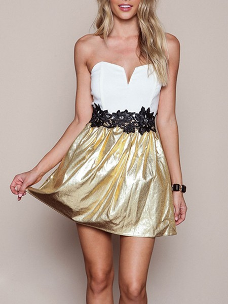 White and Golden Fit & Flare Above Knee Plus Size Strapless Dress for Party Evening Cocktail