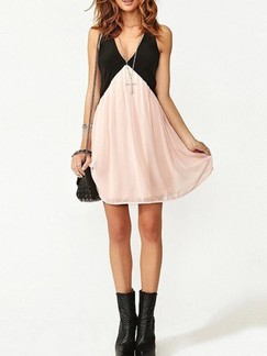 Black and Beige Shift V Neck Above Knee Dress for Casual Party