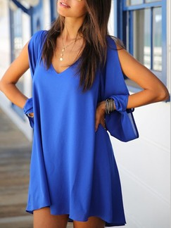 Blue Shift V Neck Above Knee Plus Size Long Sleeve Dress for Casual Party Evening