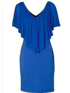 Blue V Neck Bodycon Above Knee Plus Size Dress for Party Evening Cocktail