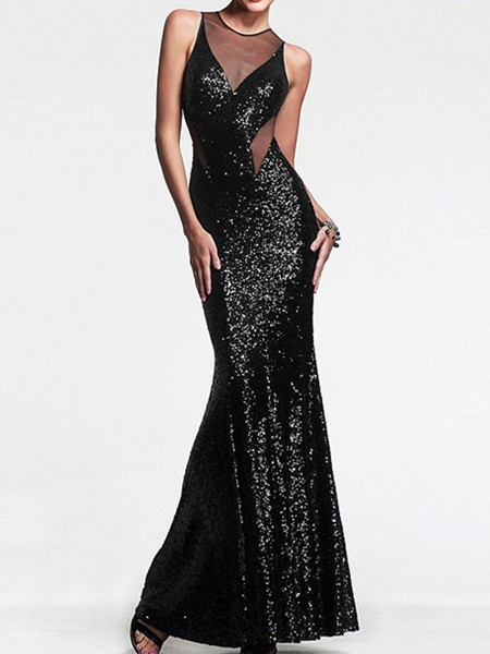 Black Maxi Halter Backless Sequin Bodycon Plus Size Petite Dress for Prom Cocktail