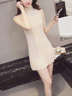 Beige Fit & Flare Above Knee Halter Dress for Casual Evening Party