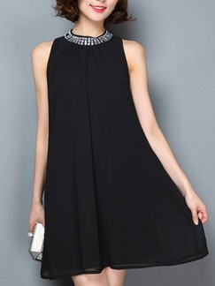 Black Shift Above Knee Halter Dress for Casual Evening Party