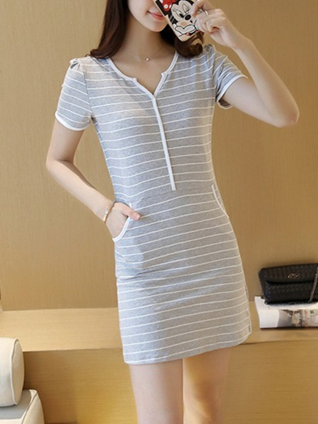 Grey Sheath Above Knee Plus Size V Neck Dress for Casual
